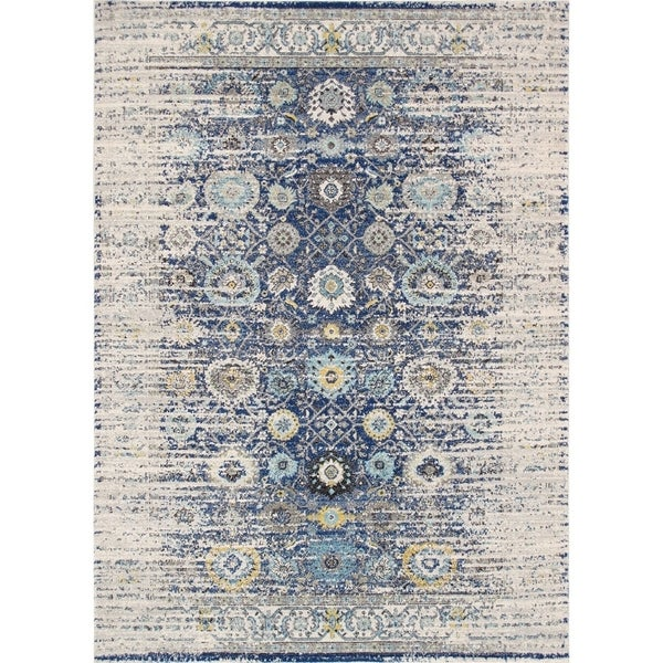 Chelsea Design Machine Made/Power Loom Navy/Ivory Rug (9' X 12') - 9' x 12'