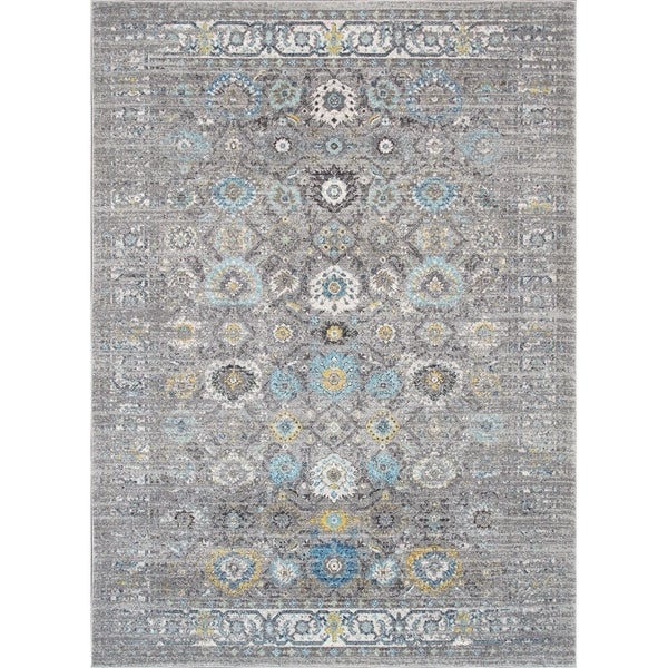 "Chelsea Design Silver Machine Made/Power Loom Rug (6' 7"" X 9' 0"") - 7' x 9'"