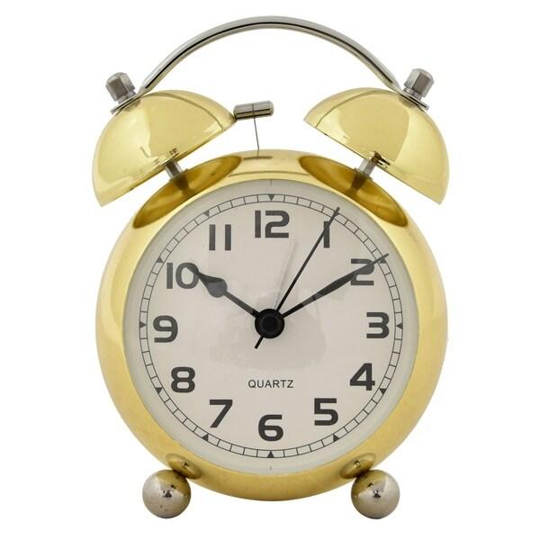 """6 """" Metal Alarm Clock in Gold"""