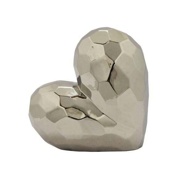 """11.5 """" Ceramic Heart Tabletop in Silver"""