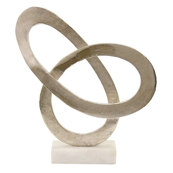 """15 """" Metal Sculpture With Marble Base in Silver"""