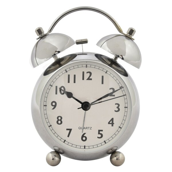 "6 "" Metal Alarm Clock in Silver"