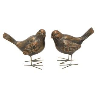 """5.5 """" Bird Figurine S/2 in Bronze"""