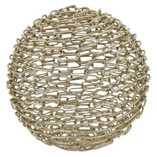 """10 """" Metal Sphere Tabletop in Silver"""