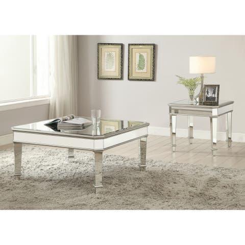 "Contemporary Silver End Table - 28"" x 24"" x 22"""