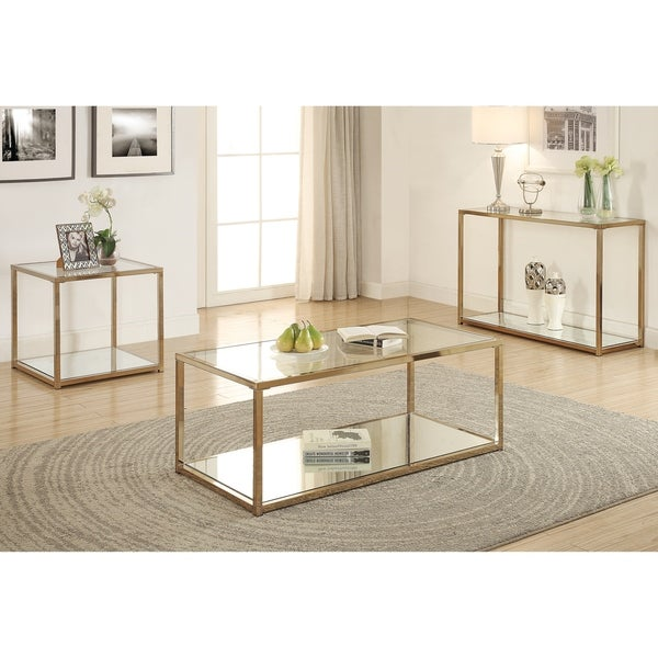 Silver Finish Coffee Table: Shop Silver Orchid Hartau Modern Gold-tone Finish Coffee