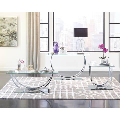 "Contemporary Chrome U-shaped Coffee Table - 48"" x 24"" x 18"""
