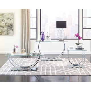 "Contemporary Chrome U-shaped Coffee Table - 48"" x 24"" x 18"""