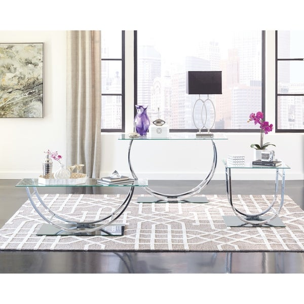 Silver Studded Coffee Table: Shop Contemporary Chrome U-shaped Coffee Table