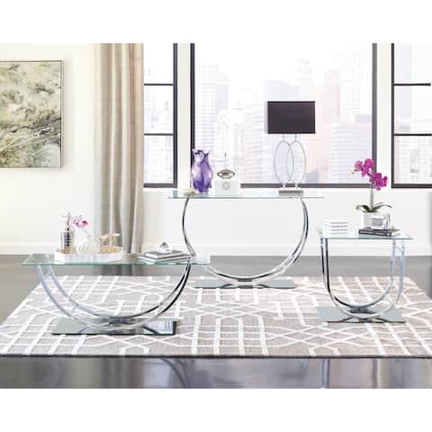 Contemporary Chrome U-shaped Coffee Table