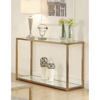 Calantha Modern Chocolate Chrome Sofa Table
