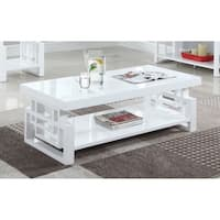 Transitional Glossy White Coffee Table