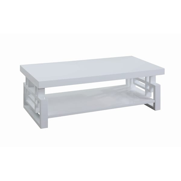 Overstock White Coffee Table.Transitional Glossy White Coffee Table