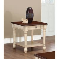 Transitional Dark Brown and Antique White End Table