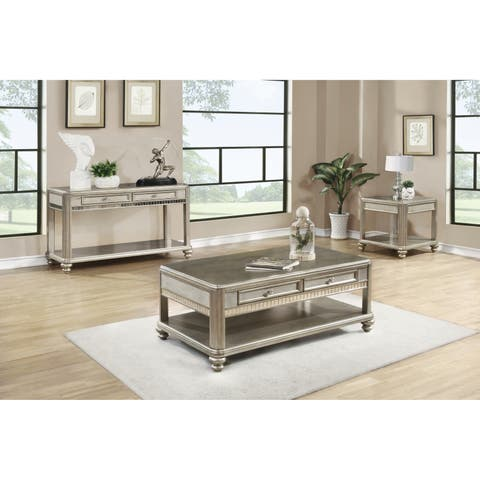 Metallic Platinum Sofa Table