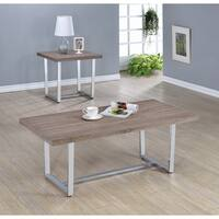 Contemporary Weathered Taupe End Table