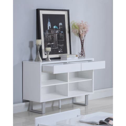 "Contemporary Glossy White Sofa Table - 42"" x 15.50"" x 30"""