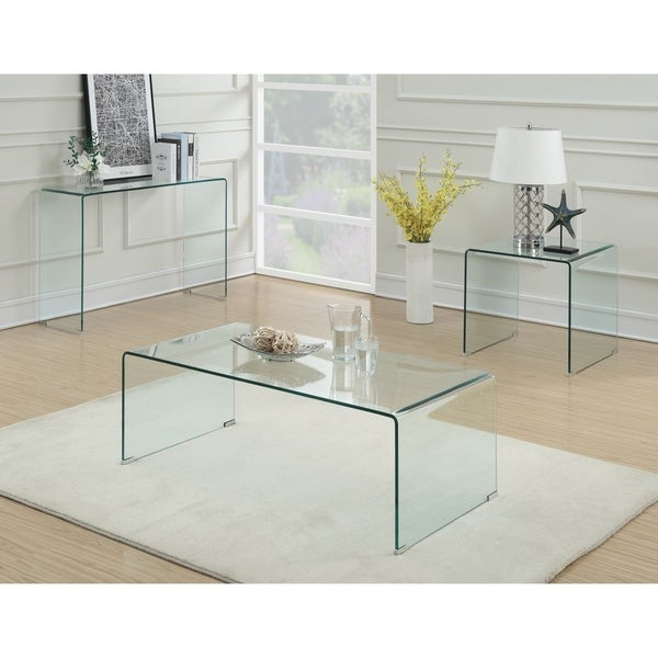 "Shop Contemporary Clear Coffee Table - 47.25"" x 23.50"" x 17"" - On Sale - Free Shipping Today"