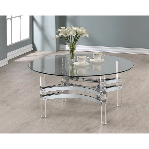 Modern Round Glass And Chrome Coffee Table: Shop Contemporary Chrome Round Coffee Table