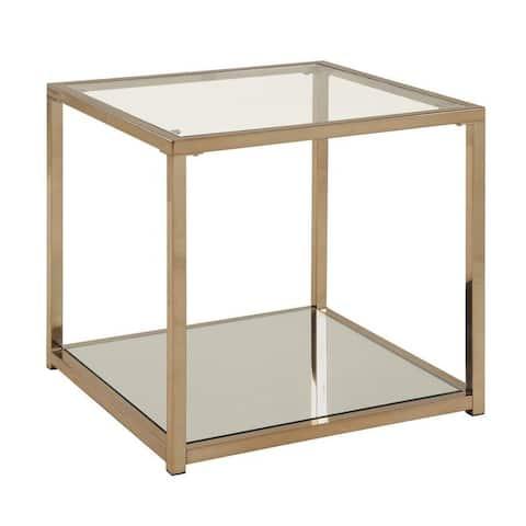 "Calantha Modern Chocolate Chrome End Table - 23.50"" x 23.50"" x 22.25"""