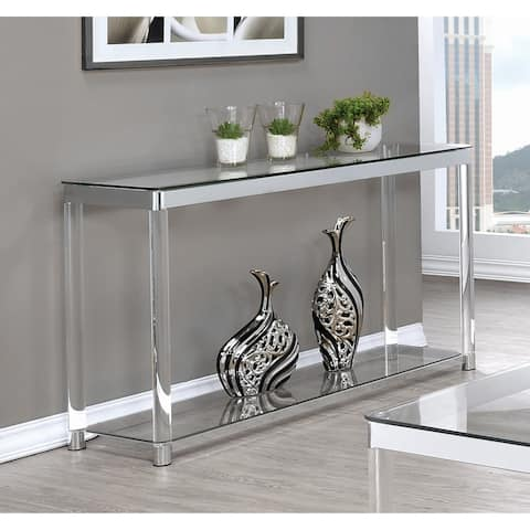 "Contemporary Chrome Glass and Acrylic Sofa Table - 48"" x 15.75"" x 30"""