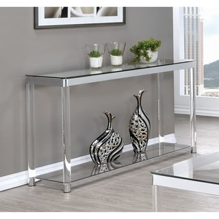 "Contemporary Chrome Glass Top and Acrylic Legs Sofa Table - 48"" x 15.75"" x 30"""