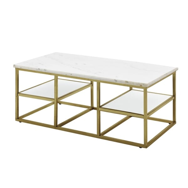Silver Orchid Holm White and Brushed Brass Coffee Table