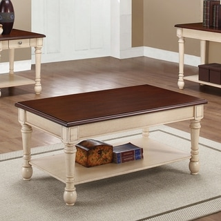 """Transitional Dark Brown and Antique White Coffee Table - 43.75"""" x 25.50"""" x 20"""""""