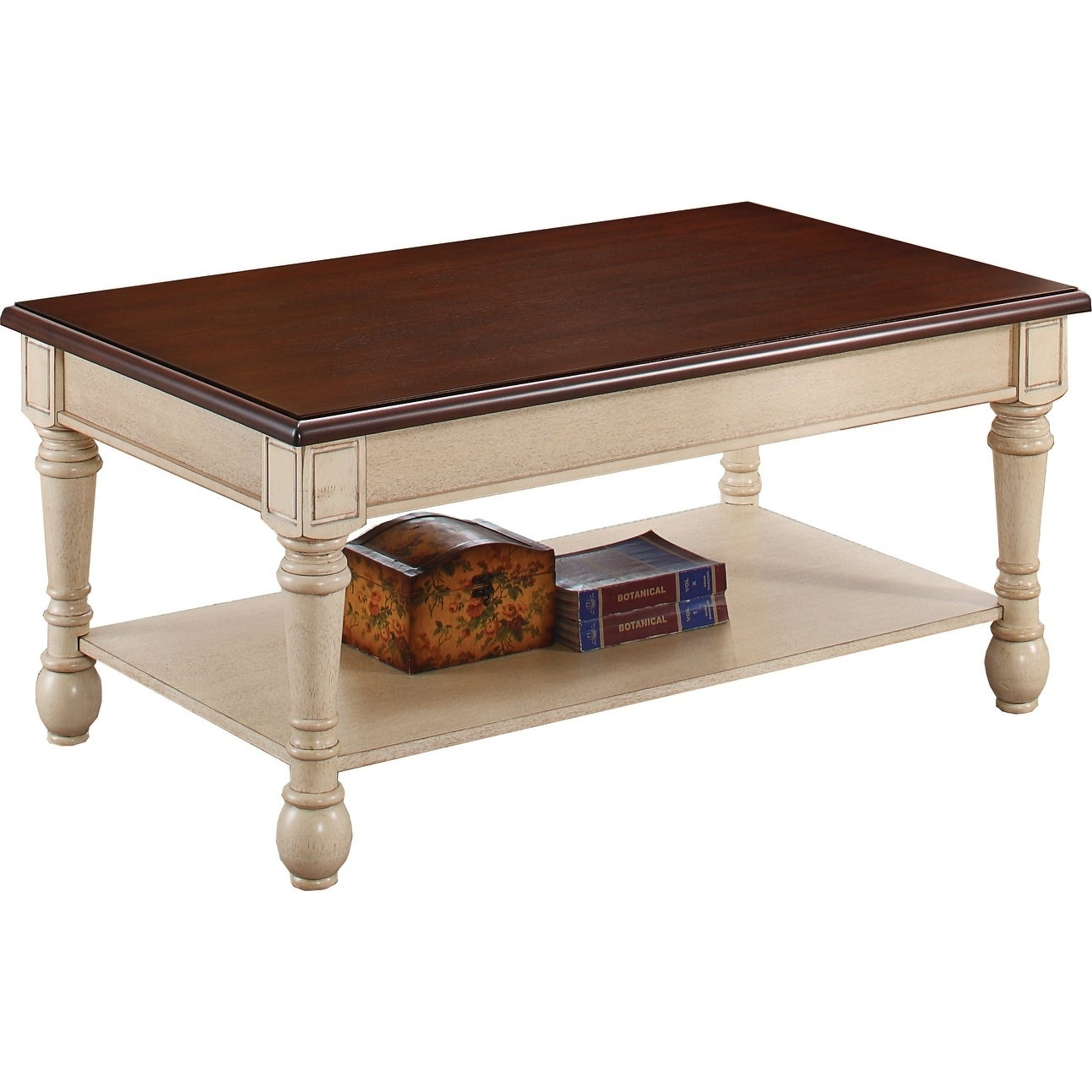 Transitional Dark Brown And Antique White Coffee Table 43 75 X 25 50 20