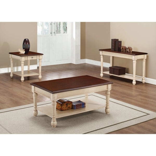Transitional Dark Brown And Antique White Coffee Table