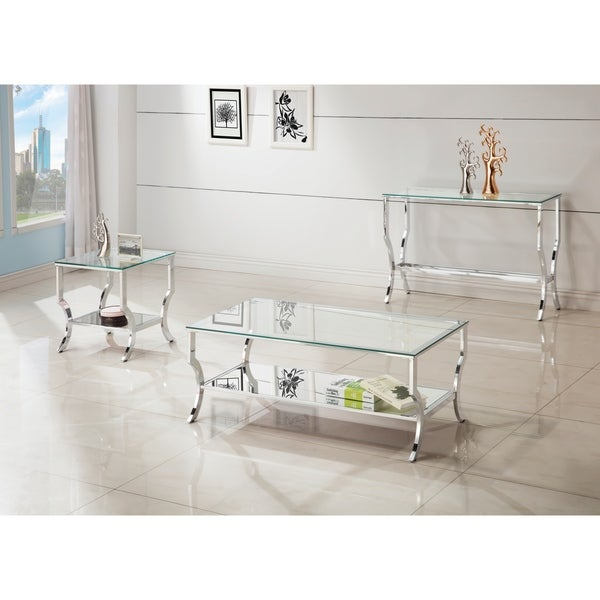 Contemporary Chrome Gl Top And Mirror Shelf Coffee Table