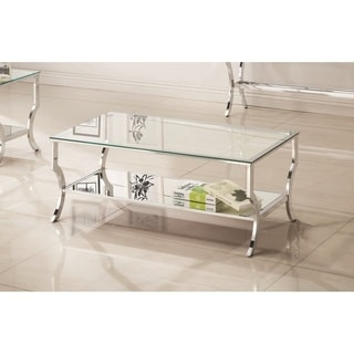 "Contemporary Chrome Glass Top and Mirror Shelf Coffee Table - 47.25"" x 23.50"" x 19.25"""