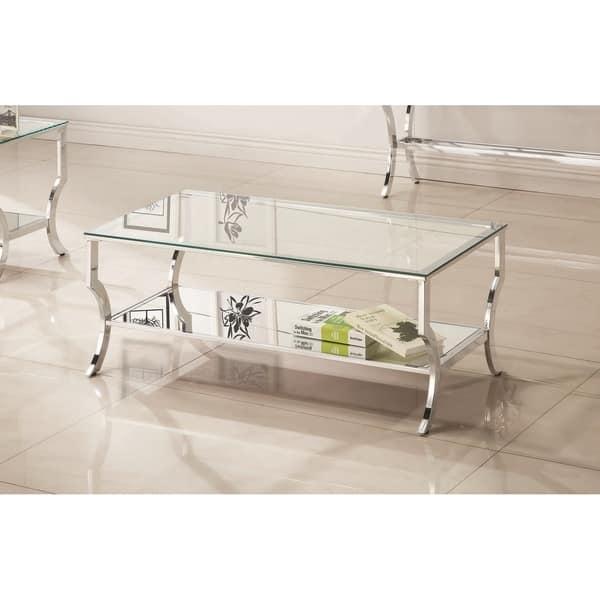 Shop Contemporary Chrome Glass Top And Mirror Shelf Coffee