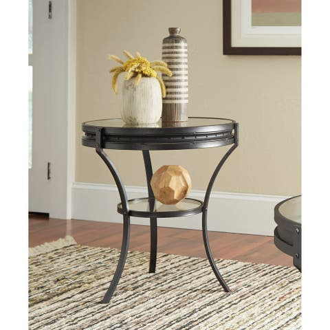 "Industrial Black Side Table - 24"" x 22"""