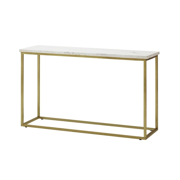Silver Orchid Holm White And Brushed Brass Sofa Table by Silver Orchid