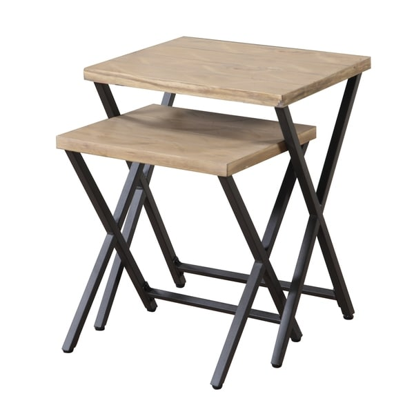 Carbon Loft Wilson Industrial Metal and Wood Nesting Tables (Set of 2)