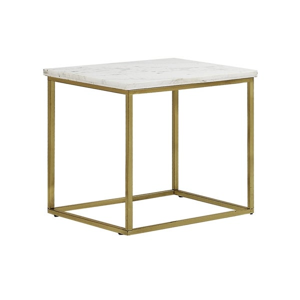 """Silver Orchid Holm White and Brushed Brass Side Table - 23.75"""" x 23.75"""" x 24"""""""
