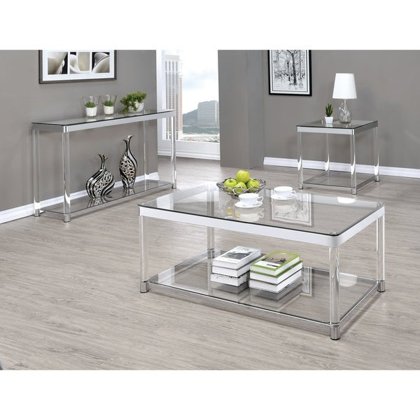 Shop Contemporary Chrome Glass Top And Acrylic Legs Side Table Free Shipping Today Overstock 21339081