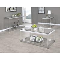 Contemporary Chrome Glass Top and Acrylic Legs Side Table