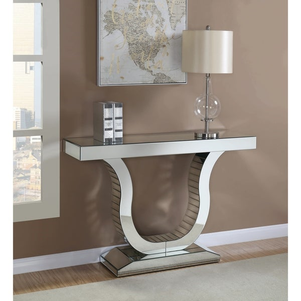 "Contemporary MDF and Mirrored Console Table - 47.25"" x 14"" x 31.50"""