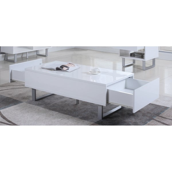 """Contemporary Glossy White Coffee Table - 48.50"""" x 23.25"""" x 16.50"""""""