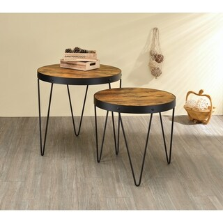 Industrial Honey and Black Nesting Tables (Set of 2)