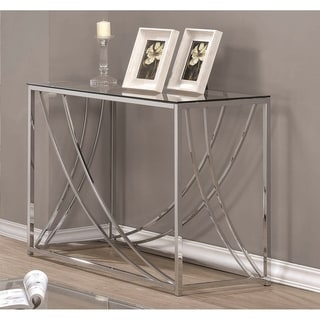 "Contemporary Chrome Glass Top Sofa Table - 42.25"" x 16.50"" x 29.75"""