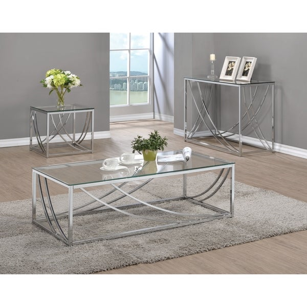 Contemporary Chrome Glass Top Sofa Table Free Shipping Today