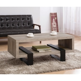 "Industrial Grey Driftwood Open Coffee Table - 47.25"" x 23.50"" x 19.25"""