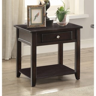 """Transitional Walnut 1-drawer End Table - 22"""" x 22"""" x 22"""""""