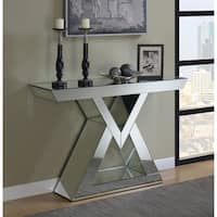 Contemporary Mirrored Triangle Base Console Table