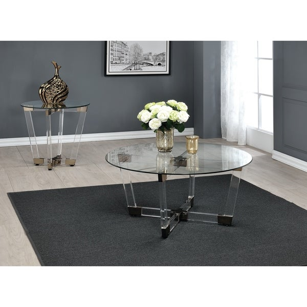 Contemporary Clear Round Coffee Table