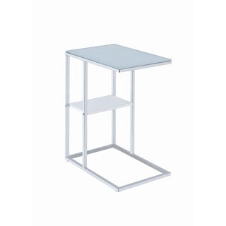 Contemporary Chrome Glass Top Snack Table