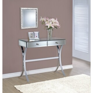 """Contemporary Mirrored Metal Console Table - 35.50"""" x 15.75"""" x 31.25"""""""